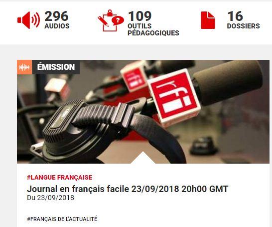 Chương trình journal en francais facile trên rfi